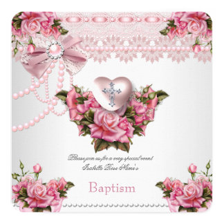 Baptism Pink Silver Heart Cross Girl Rose 5 Card