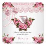 Baptism Pink Silver Heart Cross Girl Rose 5 Invitation