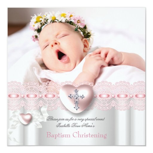 Baptism Pink Silver Photo Heart Cross Girl Personalized Invite