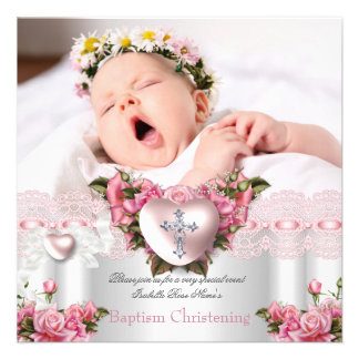Baptism Pink Silver Photo Heart Cross Girl Rose 2 Custom Invitations