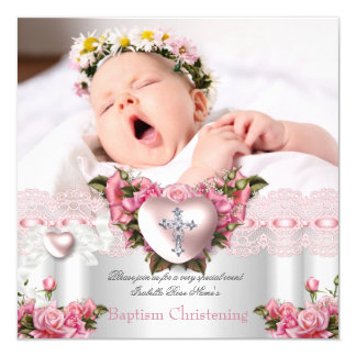 "Baptism Pink Silver Photo Heart Cross Girl Rose 2 5.25"" Square Invitation Card"
