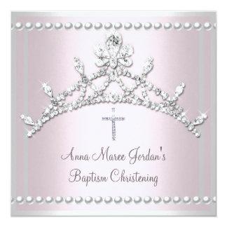Baptism Pink Tiara Silver White Pearl Diamond Card