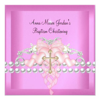 Baptism Pink Tiara Silver White Pearl Diamond Personalized Invite