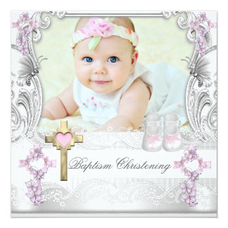 Baptism Pink White Cross Girl Photo Christening Card