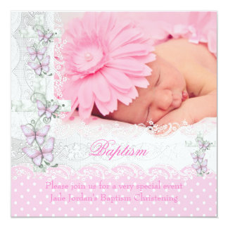 Baptism Pink White Lace Photo Butterfly Cross Girl Card