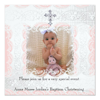 Baptism Pink White Lace Photo Jewel Cross Card