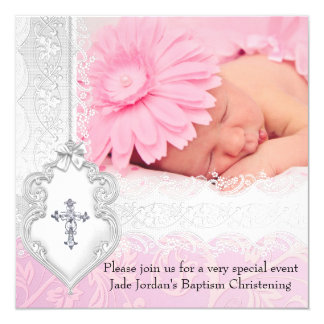 "Baptism Pink White Lace Photo Jewel Cross Girl 5.25"" Square Invitation Card"