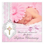 Baptism Pink White Lace Photo Pearl Cross Girl 5.25x5.25 Square Paper Invitation Card