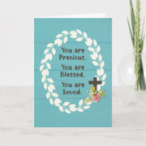 Baptism Precious Blessed and Loved on Teal Wooden Card