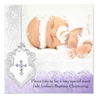 Baptism Purple White Lace Photo Jewel Cross Girl Card