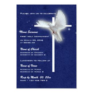 Baptism religious communion confirmation dove 5x7 paper invitation card
