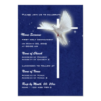 "Baptism religious communion confirmation dove 5"" x 7"" invitation card"
