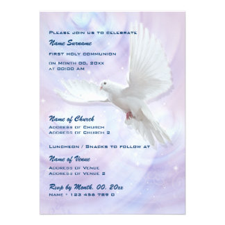 Baptism religious communion confirmation dove personalized invitation