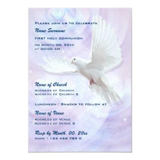 Baptism religious communion confirmation dove personalized invitation