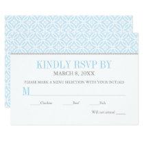 Baptism RSVP Card   Light Blue Pattern