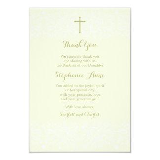 Baptism Sage Delicate Floral Lace Card