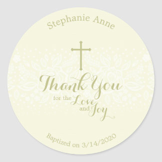 Baptism Sage Delicate Floral Lace Classic Round Sticker