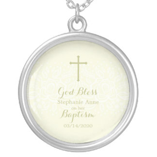 Baptism Sage Delicate Floral Lace Silver Plated Necklace