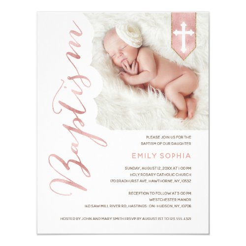 Baptism Script Shiny Blush Photo Invitation
