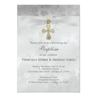 "Baptism Silver Roses 5"" X 7"" Invitation Card"