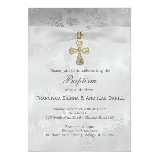 Baptism Silver Roses 5x7 Paper Invitation Card