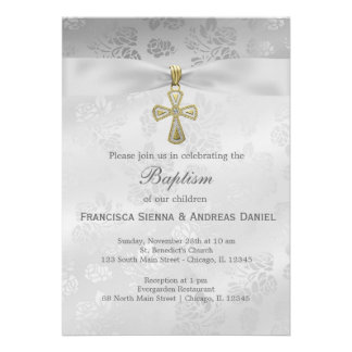 Baptism Silver Roses Invitations