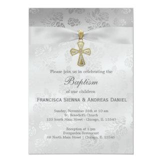 Baptism Silver Roses Invitations