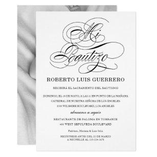 Spanish baptism christening invitations zazzle baptism spanish language black script mi bautizo invitation stopboris Gallery