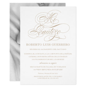 Catholic baptism invitations announcements zazzle baptism spanish language tan script mi bautizo card stopboris Gallery