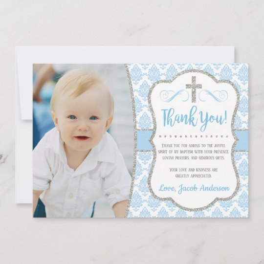 Baptism Thank You Card with Photo | Boy Baptism | Zazzle.com