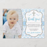 "Baptism Thank You Card with Photo | Boy Baptism<br><div class=""desc"">Baptism Thank You Card with Photo 