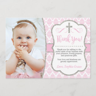Baptism Thank You Card With Photo