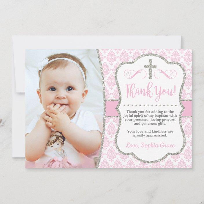 baptism thank you card with photo  girl baptism  zazzle