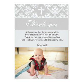 Baptism Thank You Note Christening Silver White Card