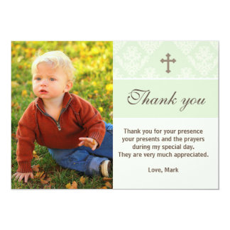 Baptism Thank You Note Custom Photo Card Mint