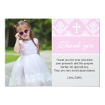 Baptism Thank You Note Custom Photo Card Pink