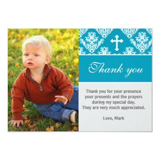Baptism Thank You Note Custom Photo Card Teal