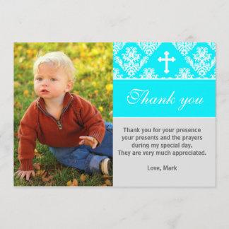 Baptism Thank You Note Custom Photo Card Turquoise