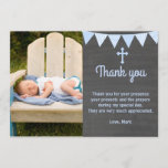 """Baptism Thank You Note Photo Card Blue Chalkboard<br><div class=""""desc"""">This Blue Baptism Photo Thank You Card is a perfect way to thank your guests. You are able to personalize the thank you card with an image of your own and adding your personal details. Have fun!! Photo credit Donnie Ray Jones via Flickr</div>"""