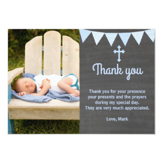 Baptism Thank You Note Photo Card Blue Chalkboard