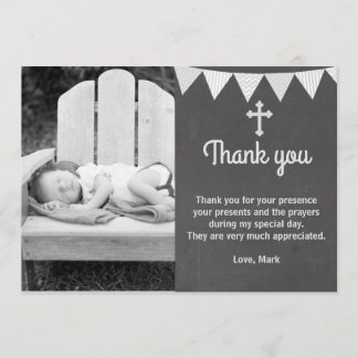 Baptism Thank You Note Photo Card Grey Chalkboard