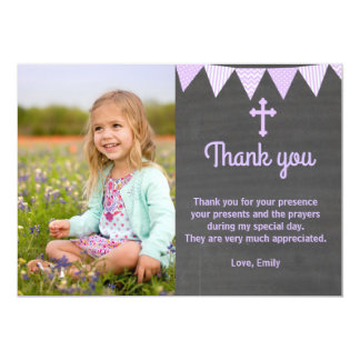 Baptism Thank You Photo Card Lavender Chalkboard