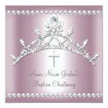 "Baptism Tiara Pink Silver White Pearl Diamond 5.25"" Square Invitation Card"