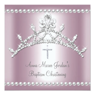 Baptism Tiara Pink Silver White Pearl Diamond Invitation