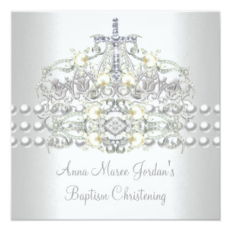 Baptism Tiara Silver White Pearl Diamond 5.25x5.25 Square Paper Invitation Card