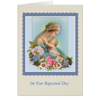 BAPTISM Virgin Mary Baby Roses Blessing Card