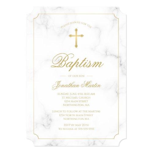 Baptism White Marble Gold Cross Script Boy Invitation