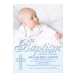 Baptism Word Blue Photo Invitation Custom Invitations