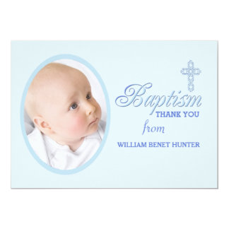 Baptism Word Blue Photo Thank You Notecard