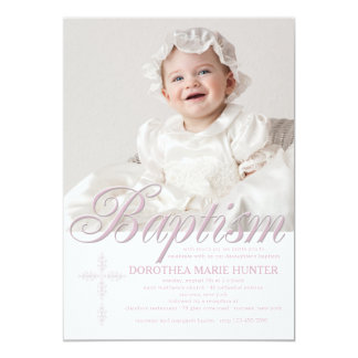 Baptism Word Pink Photo Invitation